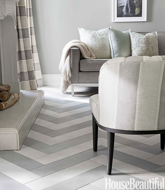 Neutral White   Gray Herringbone Chevron Floor feature in House Beautiful. 130 best Vloer Inspiratie images on Pinterest   Homes  Wall murals