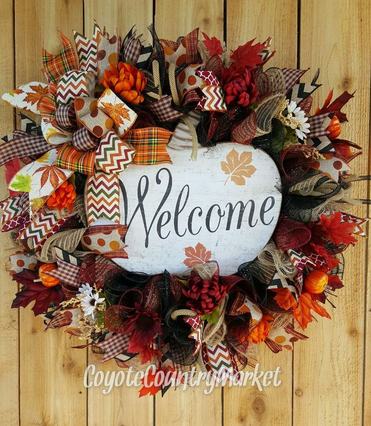 Welcome Fall Pumpkin Mesh Wreath Pumpkin by CoyoteCountryMarket