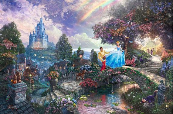 Disney Oil Paintings Thomas Kinkade Cinderella Wishes Upon A Dream Giclee Art Print On Canvas 16X24 inch no frame