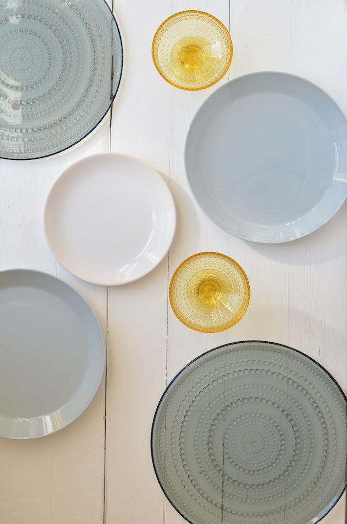Teema in grey & white and Kastehelmi in grey dinnerware and glasses in Lemon , timeless dining in style Iittala servies