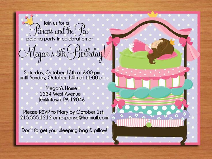 Princess and the Pea Birthday Party Invitation Cards PRINTABLE DIY | Rainbow Party | Pinterest ...