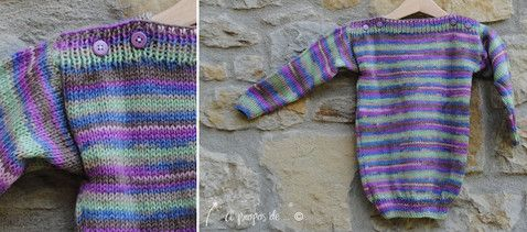 Knit multicolor maxi sweater for toddler. Righe multicolor per una maxi maglia ...  Handmade in Italy by Atelier Faggi.