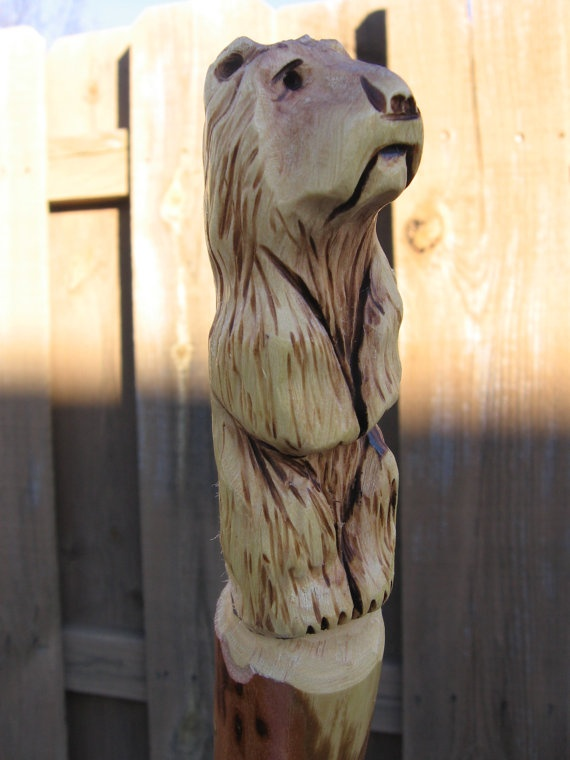 Carved Grizzly Bear Walking Stick 227 by CreationCarvings on Etsy, $34.97