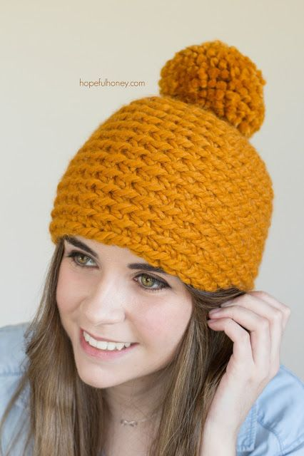 Toffee Apple Pompom Beanie  - Free Crochet Pattern