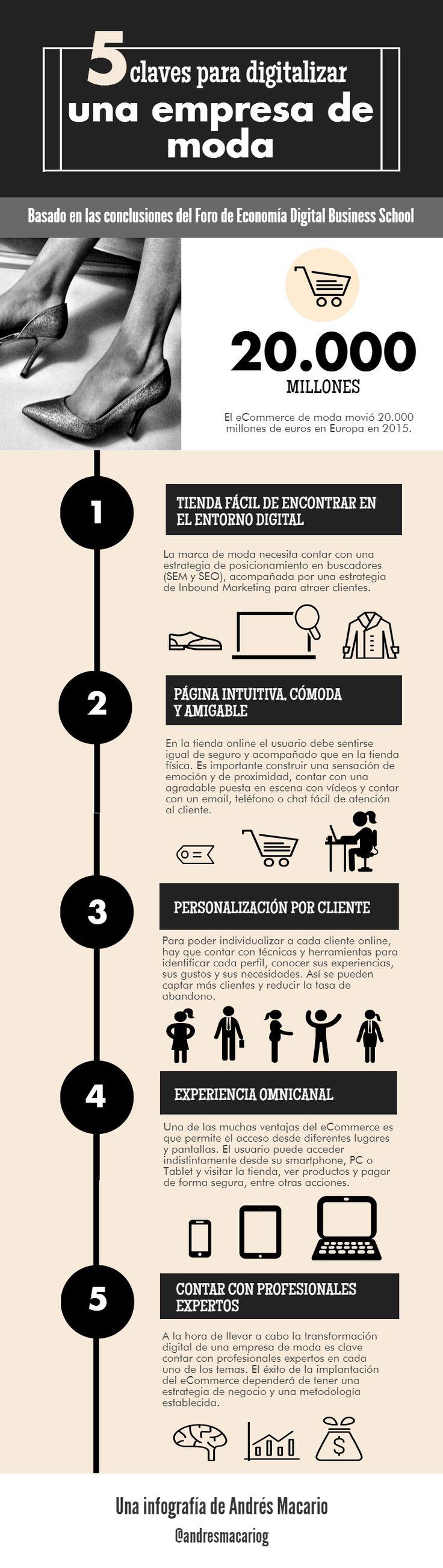 5-claves-para-digitalizar-una-empresa de moda #Infografia