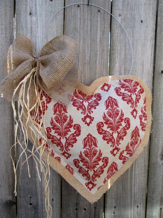 Valentine Day Burlap Door Hanger Valentine by nursejeanneg on Etsy, $28.00