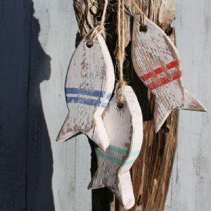 Painted Fish Hanging   Wooden Fish