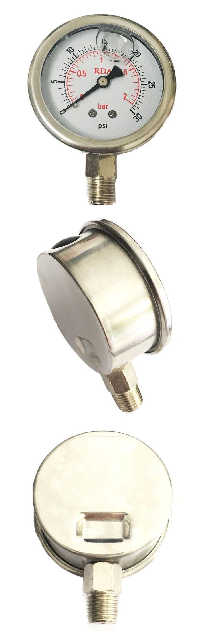 [Visit to Buy] 0-30 PSI 2Bar Stainless Steel Liquid Filled Pressure Gauge #Advertisement