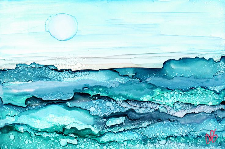 Shimmering Seas Alcohol Ink Painting Matted and Ready by ocdang