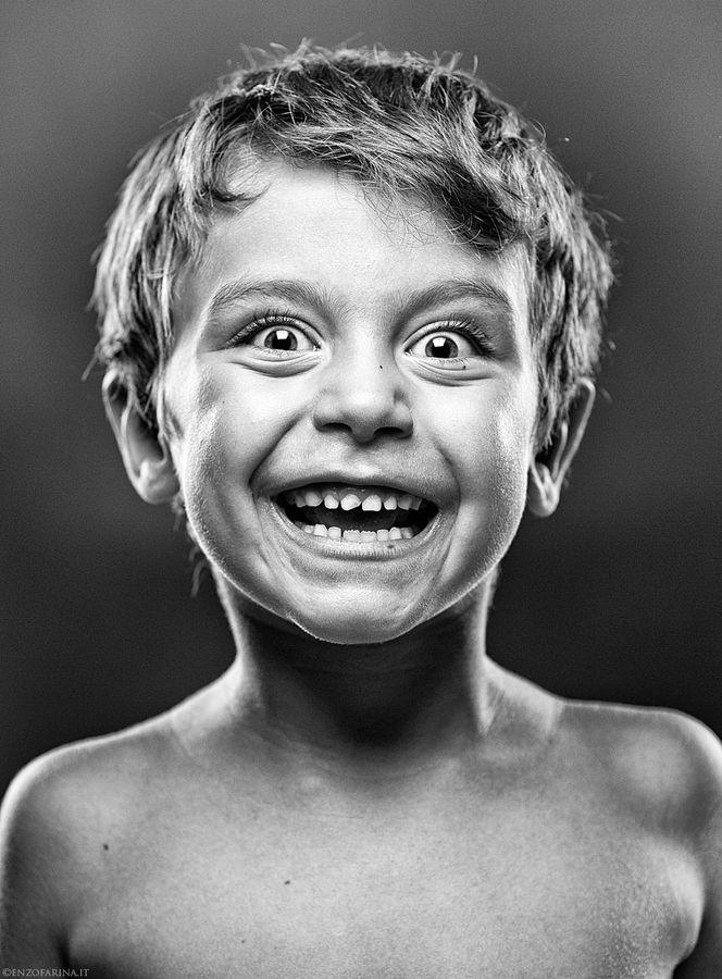 Just Happy by enzo farina, via 500px, boy, kid, child, expression, face, powerful, intense, portrait, b/w