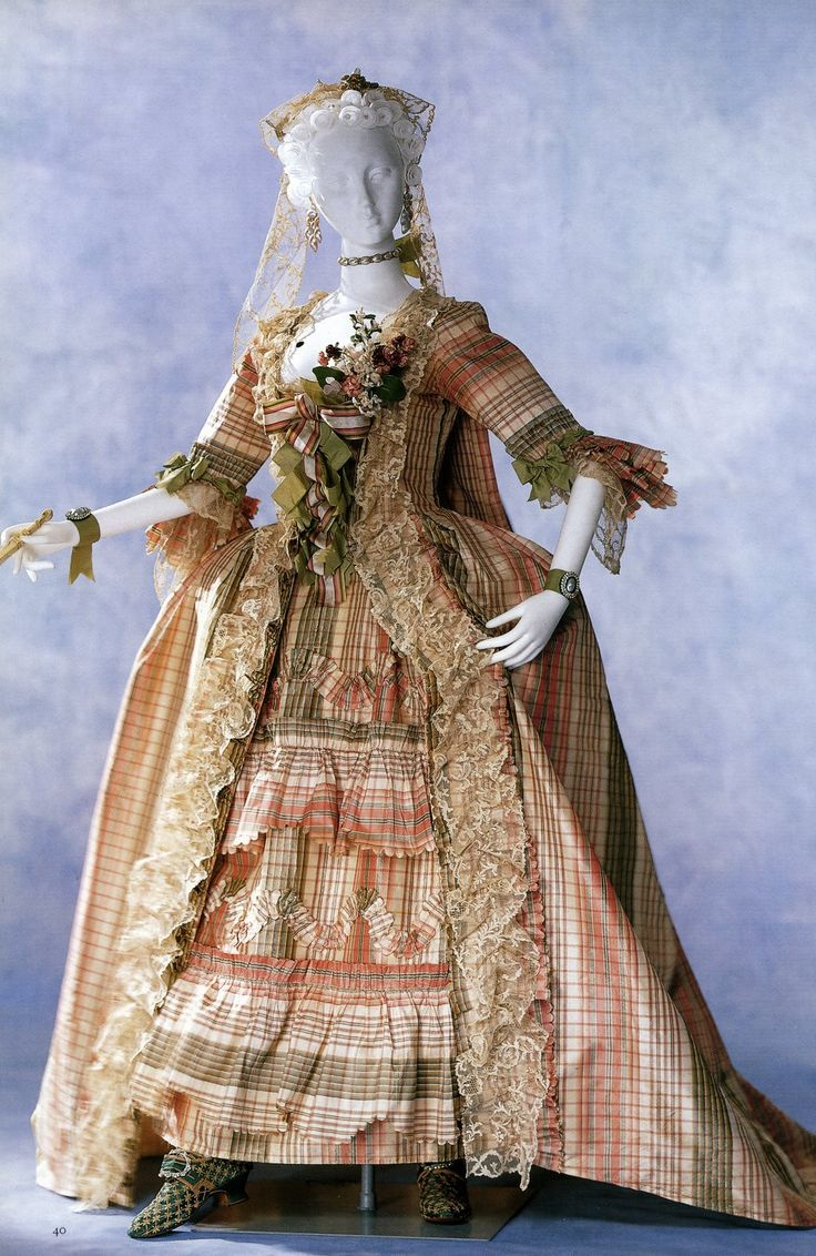 1760 Robe a la francaise with engageantes, quilles, and lappets of lace