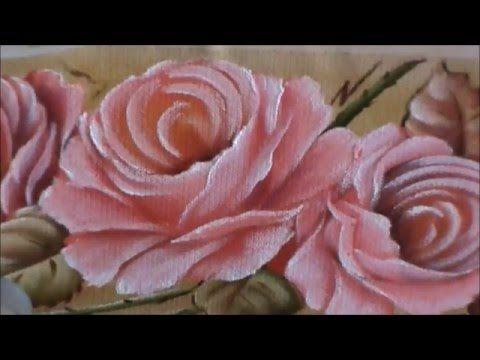 Dicas de pintura grátis - Pintando rosas em toalha de mão - 2