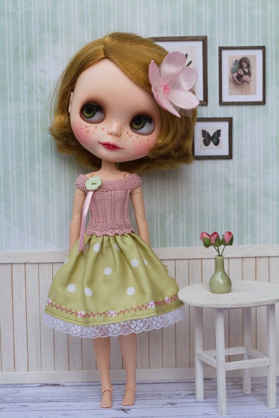 Dusty pink and green polka dot dress fits Blythe by Katjuss