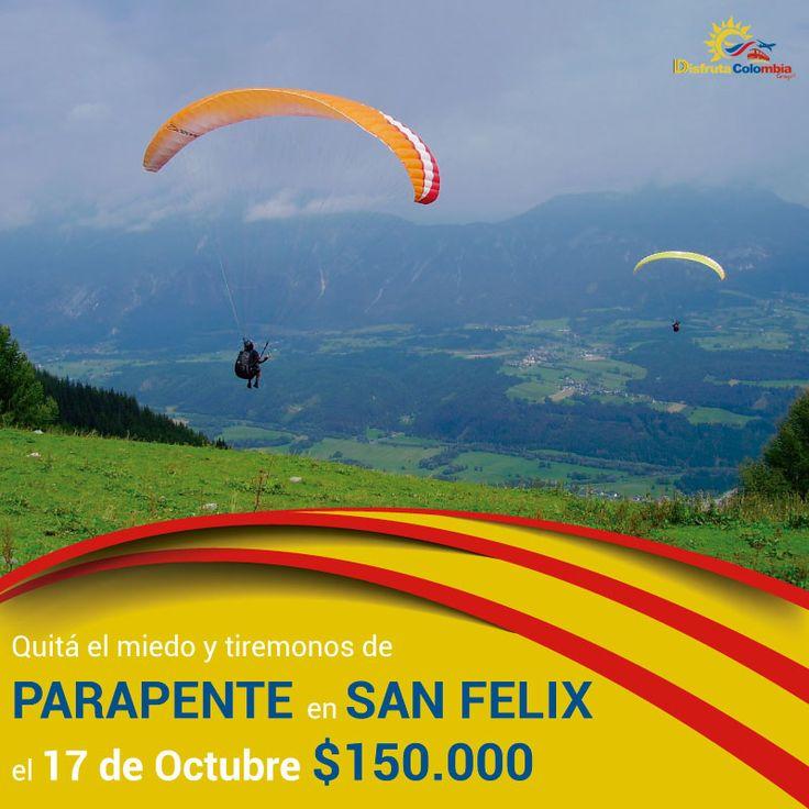 Vení y compartImos la aventura de los parapentes al mejor precio de #disfrutacolombia en #sanfelix