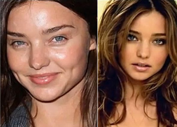 Angel Miranda Kerr appeared bare-faced to a red carpet event. Her skin is famously smooth, even without makeup.