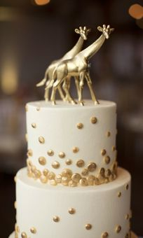 White Butter Cream cake w/Gold Confetti! Sugar Bee Sweets Bakery  Brides Wedding Cake with Gold Polka Dots and Giraffe Topper