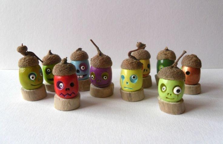 Basteln mit Naturmaterialien - Witzige Gesichter zu Halloween schnitzen