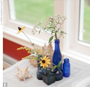 wedding reception decorBlue Wildflowers, Blue Glasses, Blue Jars, Blue Theme, Reception Ideas, Receptions Ideas, Blue Boards, Simple Receptions, Blue Bottle