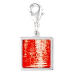 Red Sunrise Silver Square Charm
