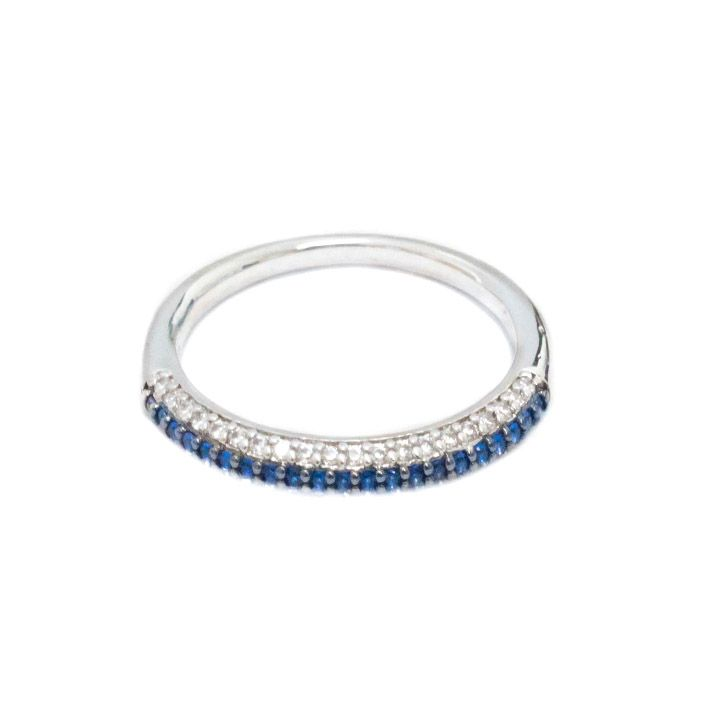 Skinny Band With White and Sapphire Blue AAA Cubic Zirconias. Moresojewel.com