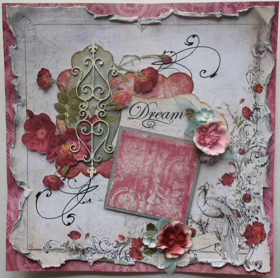 Premade Scrapbook Page 12 x 12, Shabby Chic, Vintage, Mixed Media, Layout