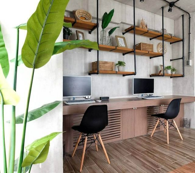 Modern industrial apartment located in the Philippines, designed by M+S Studio. Small Office Design, Office Interior Design, Office Interiors, Modern Interior, Business Office Decor, Home Office Decor, Home Decor, Office Ideas, Philippines