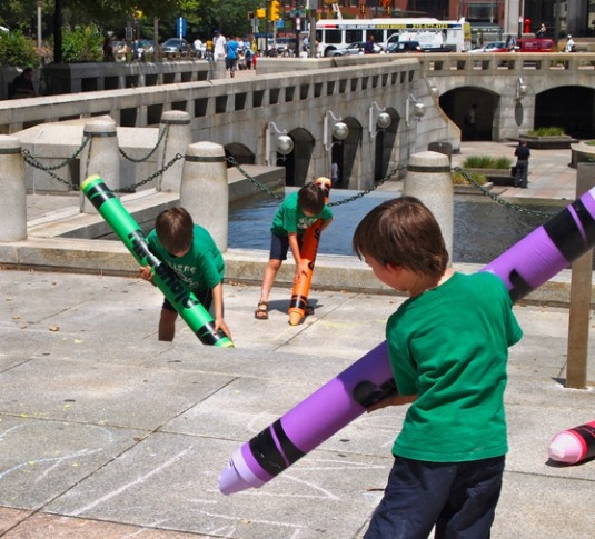 PlayPhilly Big Chalkers, four-foot adult sized 'sidewalk chalk' crayons.