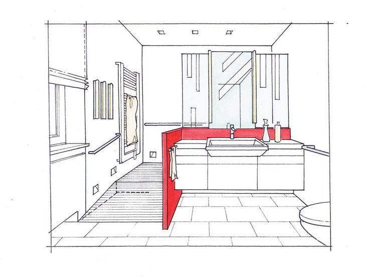 """Ein behindertengerechter Duschbereich. Er entsteht hinter einer fast raumhohen Vorwand (z. B. """"Unimont"""" von Mepa), die sämtliche Wasseranschlüsse für Dusche und Waschplatz beherbergt. Damit das Waschtischelement nicht zu massiv wirkt, sind rechts und links neben dem Spiegel Glasflächen eingeplant, die zudem Tageslicht in die Duschzone lassen. Eine Rampe ermöglicht den Zugang mit dem Rollstuhl, kann aber natürlich auch weggelassen werden. Eine kleine Stufe ist dann allerdings unvermeidbar."""