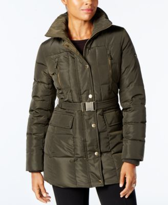 Michael Michael Kors Faux-Fur-Trim Belted Down Puffer Coat, A Macy's Exclusive - Green XXL