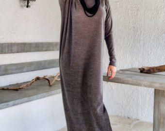 Grigio Maxi manica lunga abito grigio Kaftan / di SynthiaCouture