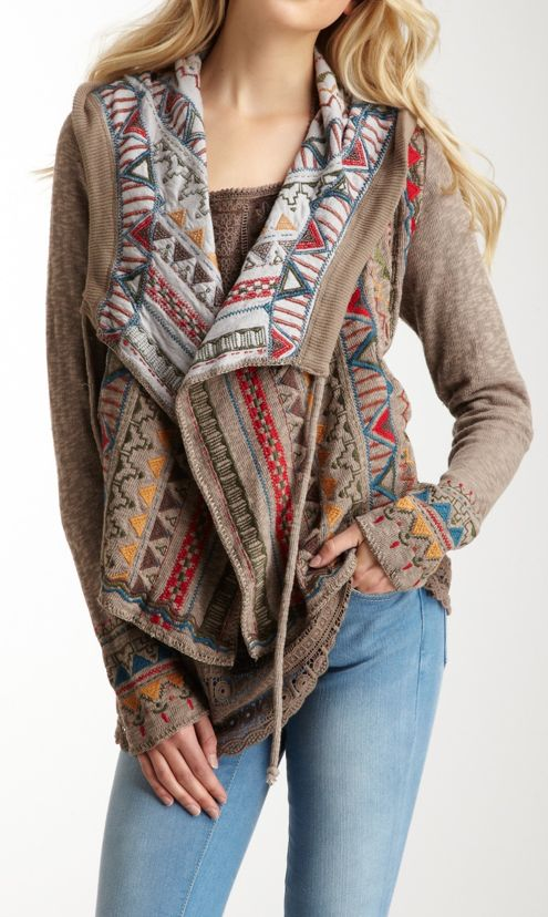 Tribal cardigan.  Love the pattern on the inside that peeks out and the lace detail on the trim.