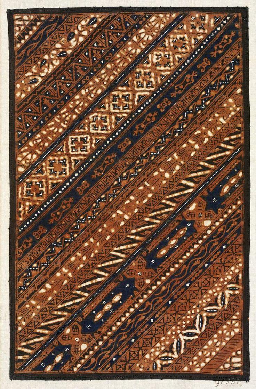 Batik sample Indonesian (Javanese), Dutch colonial rule, late 19th century