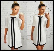 Para mujer de la muchacha blanco negro mini vestido ocasional, 2015 mujeres del verano del arco o cuello media manga pequeña franja estilo patchwork vestidos(China (Mainland))