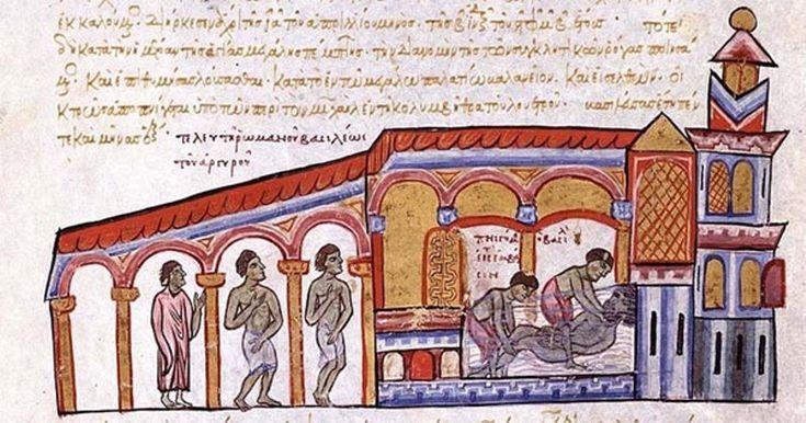 """Assassinio dell'imperatore Romano III all'interno dei bagni - miniatura dal """"Codex Skylitzes"""", Sicilia, III quarto del XII secolo - Madrid, Biblioteca Nacional de España."""