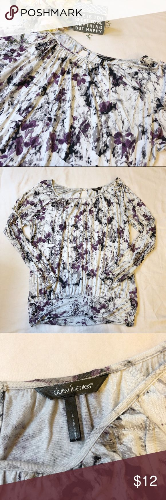 Daisy Fuentes Floral Long Sleeve Top Size L Daisy Fuentes floral long sleeve top. Banded hem with key hole closure in back. Purple florals on light grey background. EUC.   Make me an offer!! 😊 Daisy Fuentes Tops Blouses