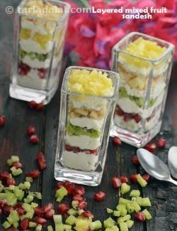 Layered Fruit Sandesh recipe   Indian Low Fat Recipes   by Tarla Dalal   Tarladalal.com   #3607