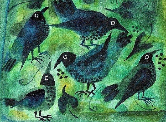 A quincunx of hen blackbirds by my friend Sarah Dunton