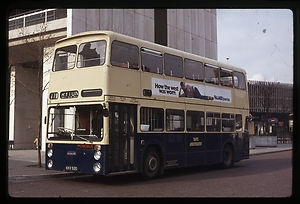 1969 Daimler Fleetline Double Decker bus, again in WMPTE livery, pictured in Fairfax Street, Coventry