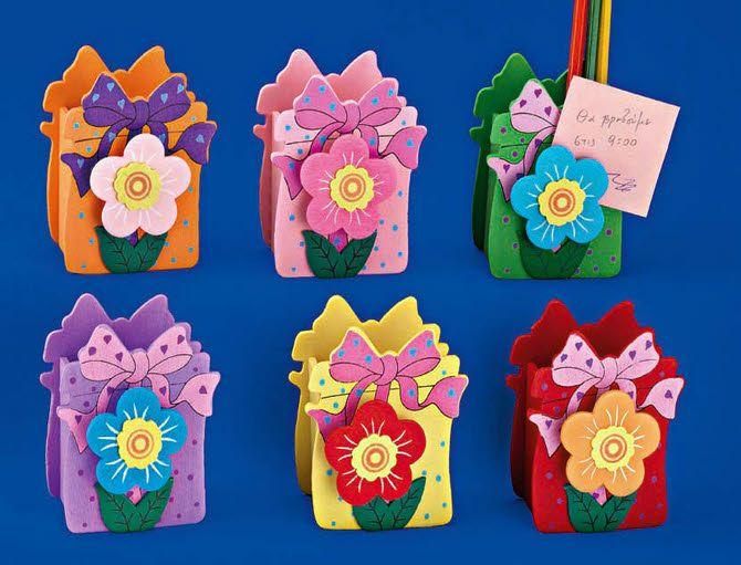 Ξύλινη μολυβοθήκη με λουλούδι για να δημιουργήσετε μπομπονιέρες βάπτισης, διακοσμήσεις