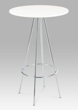 AUB-8000 WT Barový stůl bílá / chrom, pr. 60 cm.