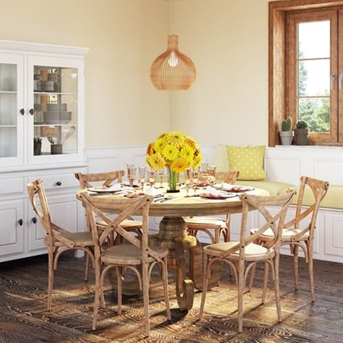 Artefama Phill Distressed Oak Round Dining Table   Overstock.com Shopping - The Best Deals on Dining Tables
