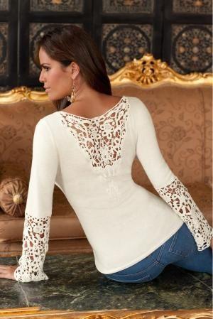 The new crochet-inset sweater! #bostonproper #sweaters #fashion #style #crochet by DeeDeeBean