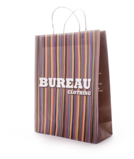#carrierbags #menswear #strippedbags #clothesbags Although a Full Colour Bag can be a little more expensive it sometimes is well worth the extra when it blends so well with your shop and will also stand out alot easier on a busy shopping street.