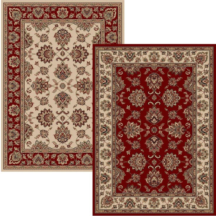 Admire Home Living Virginia Oriental Red and Ivory Two Piece Area Rug Set - 5'5 x 7'7