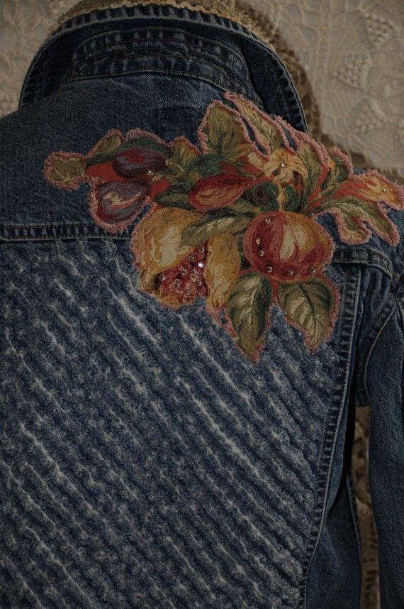 Upcycled  denim jacket womens denim jacket size small door nanotchka, $95.00