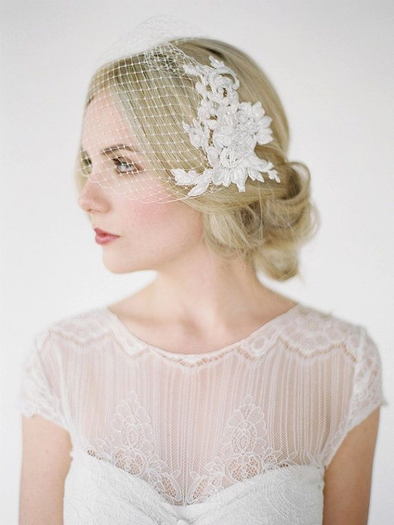 LEILA Birdcage Veil with Lace Combs Lace Birdcage by percyhandmade--love this