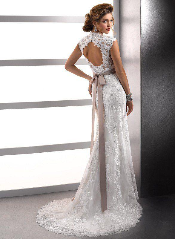 Lace cap sleeve wedding dress keyhole back for Wedding dress with keyhole back
