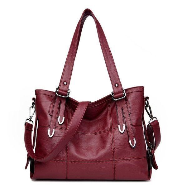 Top-Griff Taschen Leder Luxus Handtaschen Frauen Taschen Designer Nähen lässig Frauen Messenger Big Shouler Taschen
