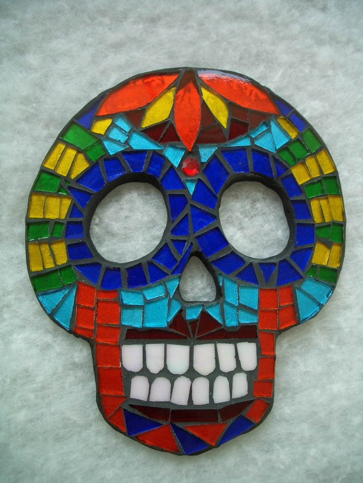 Mosaic Sugar Skull Ceramic And Stained Glass Wall