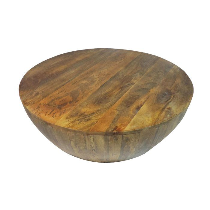 Beliveau Solid Wood Drum Coffee Table Coffee Table Wood Round